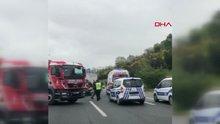 TEM'i birbirine katan yarış kazası kamerada