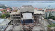 Yıkımı devam eden Atatürk Kültür Merkezi'nin son durumu havadan görüntülendi