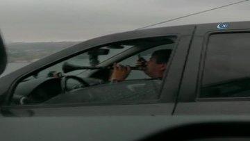 FSM köprüsündeki zurnalı trafik canavarı kamerada