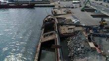 Karaya oturan hayalet gemi Tallas kaldırılıyor