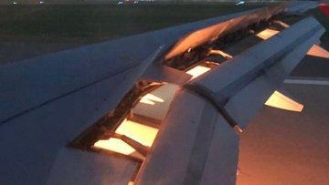 Suudi Arabistan'ı taşıyan uçak havada alev aldı