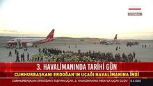 """Cumhurbaşkanı Erdoğan'ın """"TC-ANK"""" adlı uçağı 3. Havalimanı'na indi"""