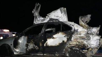 Samsun'da feci kaza! Yanan araçta 3 kişi öldü