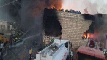 Hatay Cinderes'de kimyasal madde deposu yandı