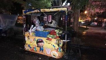 Karaman'da seyyar mısırcı tezgahı yandı