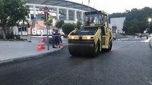 Dolmabahçe'de çöken yol yeniden trafiğe açıldı