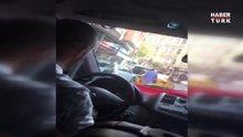 UBER sürücüsüne taksi şoföründen sopalı saldırı kamerada