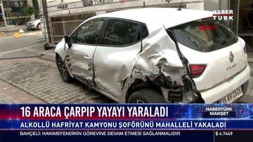16 araca çarpıp yayayı yaraladı