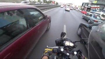 E-5 Karayolu'nda feci motosiklet kazası kamerada