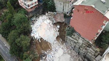 Sütlüce'de çöken binanın çevresindeki binalarda derin çatlaklar oluştu