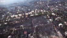 Havadan görüntülerle Yunanistan'dkai yangın felaketi