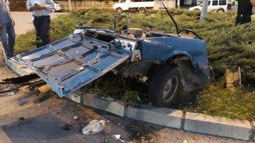 Samsun'da korkunç kaza! Otomobil ikiye bölündü! İşte o anlar...