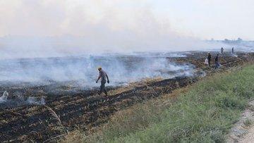 Adana'da çıkan anız yangınları şehri dumana boğdu