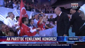 Cumhurbaşkanı Erdoğan kongre salonunda