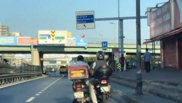 Benzini biten motosikleti ayağı ile itti... O anlar kamerada