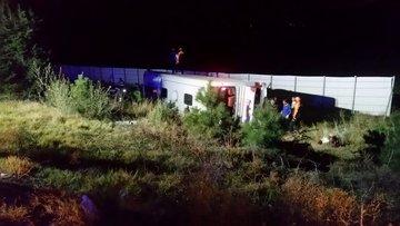 Afyonkarahisar'da yolcu otobüsü devrildi: 2 ölü, 32 yaralı