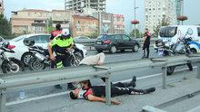 Motorize polis ekibi kaza yaptı
