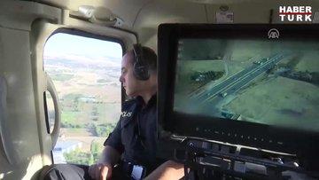 Hız sınırını aşan sürücü helikopterden kaçamadı