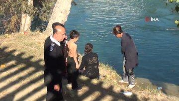Irmağa düşen 2 çocuk ve 2 anne son anda kurtarıldı