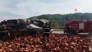 Freni patlayan kamyon Suriyelilerin çalıştığı tarlaya daldı