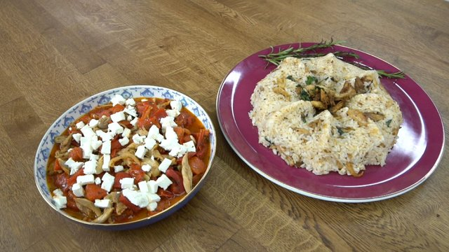 Közlenmiş Biberli, Peynirli Tavuk ve Sarımsaklı Pilav