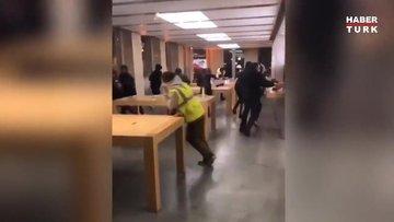 Fransa'da Apple mağazası yağmalandı!