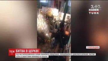 Ukrayna'da kilisede rahipler birbirine girdi