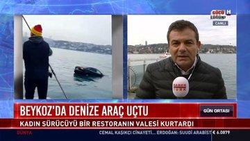 Beykoz'da denize araç uçtu: Kadın sürücüyü bir restoranın valesi kurtardı