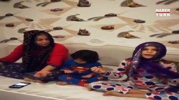 Yeliz Yeşilmen çocuklarına dua etmeyi öğretirken çekilen videoyu paylaştı.
