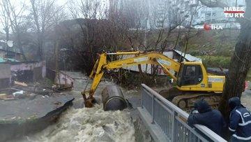 Sarıyer'de sel sularının yıktığı kanal köprüsü havadan görüntülendi