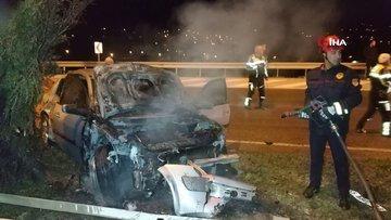 Samsun'da kaza yapan otomobil yandı, sürücü kayıplara karıştı!