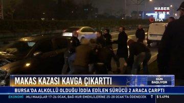 Makas kazası kavga çıkarttı: Bursa'da alkollü olduğu iddia edilen sürücü 2 araca çarptı