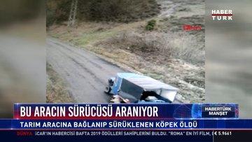 Bu aracın sürücüsü aranıyor: Tarım aracına bağlanıp sürüklenen köpek öldü