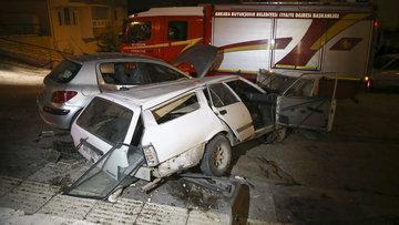 Başkent'te otomobil 50 metreden uçtu: 2 ağrı yaralı