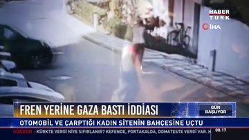 Fren yerine gaza bastı: Otomobil ve çarptığı kadın sitenin bahçesine uçtu