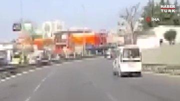 Trafikte yarışan aracın karıştığı kaza anı kamerada