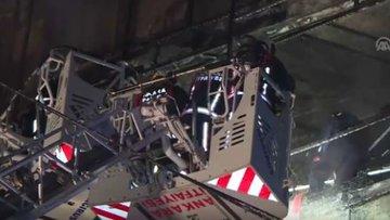 Başkent'te mobilya mağazası alev alev yandı