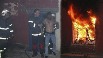 Yaktığı eve saklanan alkollü şahsı itfaiye kurtardı