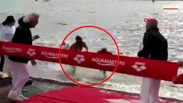 Yüzme yarışında skandal olay! İşte o an...