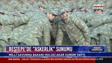 """Beştepe'de """"askerlik"""" sunumu: Milli Savunma Bakanı Hulusi Akar sunum yaptı"""