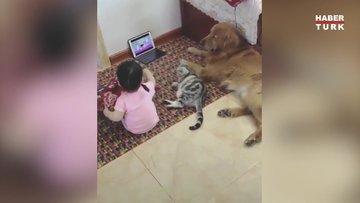 Pijama partisi verip çizgi film izliyorlar
