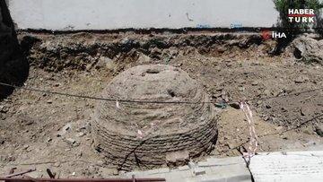 Üsküdar'da tarihi kalıntıların bulunduğu inşaat alanı havadan görüntülendi