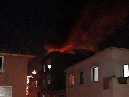 Esenler'de çatı alev alev yandı, güvercinler kurtarılamadı