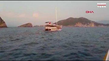 Turist dolu tur teknesi karaya oturdu
