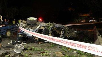 Başkent'te otomobil üst geçitten alt yola düştü: 1 ölü, 2 yaralı