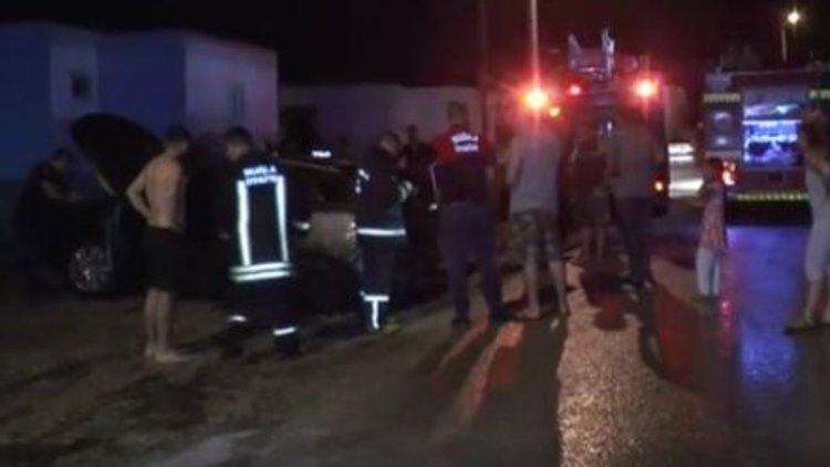 Bodrum'da lüks cipi havlu ile tutuşturup yaktılar