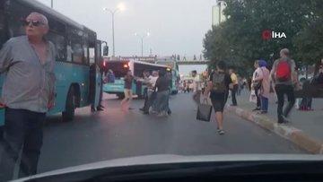 Otobüsüne çarpan kamyonu, kovalayan otobüs şoförüne kendi yolcularından dayak