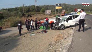 Orta refüjü aşan otomobil karşıdan gelen araçla kafa kafaya çarpıştı: 1 ölü, 1 yaralı