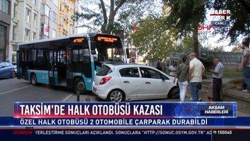 Taksim'de halk otobüsü kazası