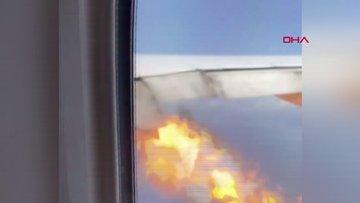 ABD'de 347 yolcuyu taşıyan uçağın motoru havadayken alev aldı